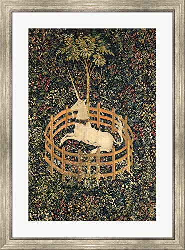 - The Unicorn in Captivity Framed Art Print Wall Picture, Silver Scoop Frame, 27 x 36 inches