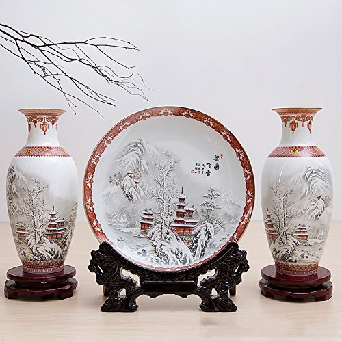 vasehome Porcelain chinese ceramic decorative flower vase for three pieces(including two vases and a plate)-O