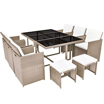 VidaXL Gartenmöbel Set 7 TLG. Poly Rattan Braun Sitzgarnituren  Gartengarnitur