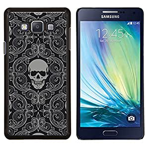 TECHCASE---Cubierta de la caja de protección para la piel dura ** Samsung Galaxy A7 ( A7000 ) ** --Patrón principal esquelético del cráneo de fondo de pantalla gris