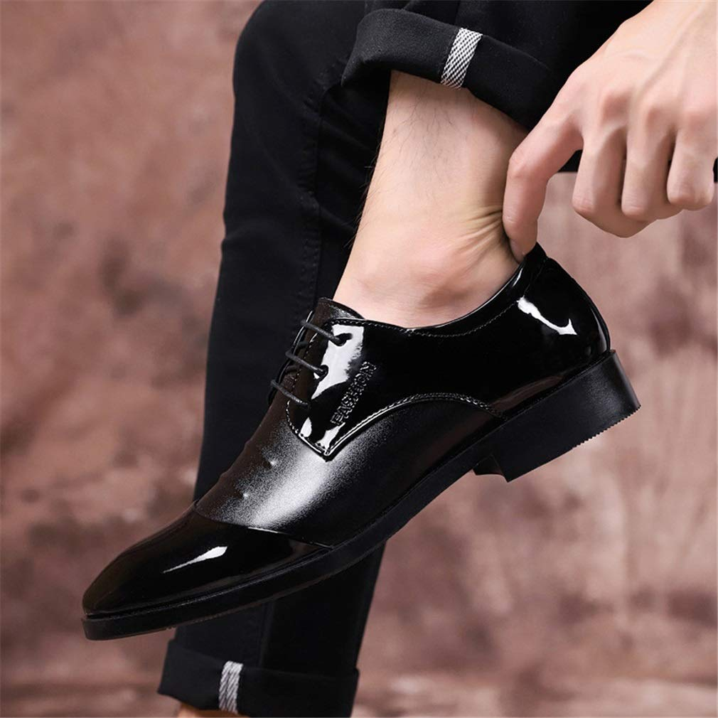YAN Formale Schuhe der Männer, Spitze Schuhe Mode Mode Mode England helle Leder Business Casual Schuhe Jugend Hochzeit Schuhe schwarz braun (Farbe   B, Größe   46) 6e5b49