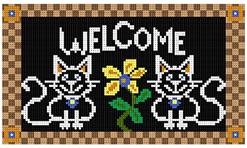 Blackboard Kitty Welcome Mat Latch Hook Rug Pattern, approximate finished size is 30.4 x 17.6 inches