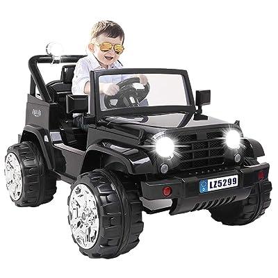 Bilidex Electric Cars for Kids, 12v Battery Car for Kids w/ 3 Speed, Power 4 Wheels Toys, 2.4G Remote Control, LED Lights, Spring Suspension (Black): Toys & Games