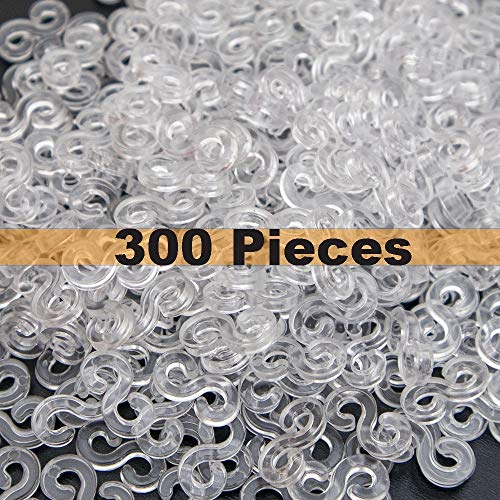 Creammuffin White 300 Pcs S Clip for Loom Rubber Band for DIY Bracelet Making Refill Kit