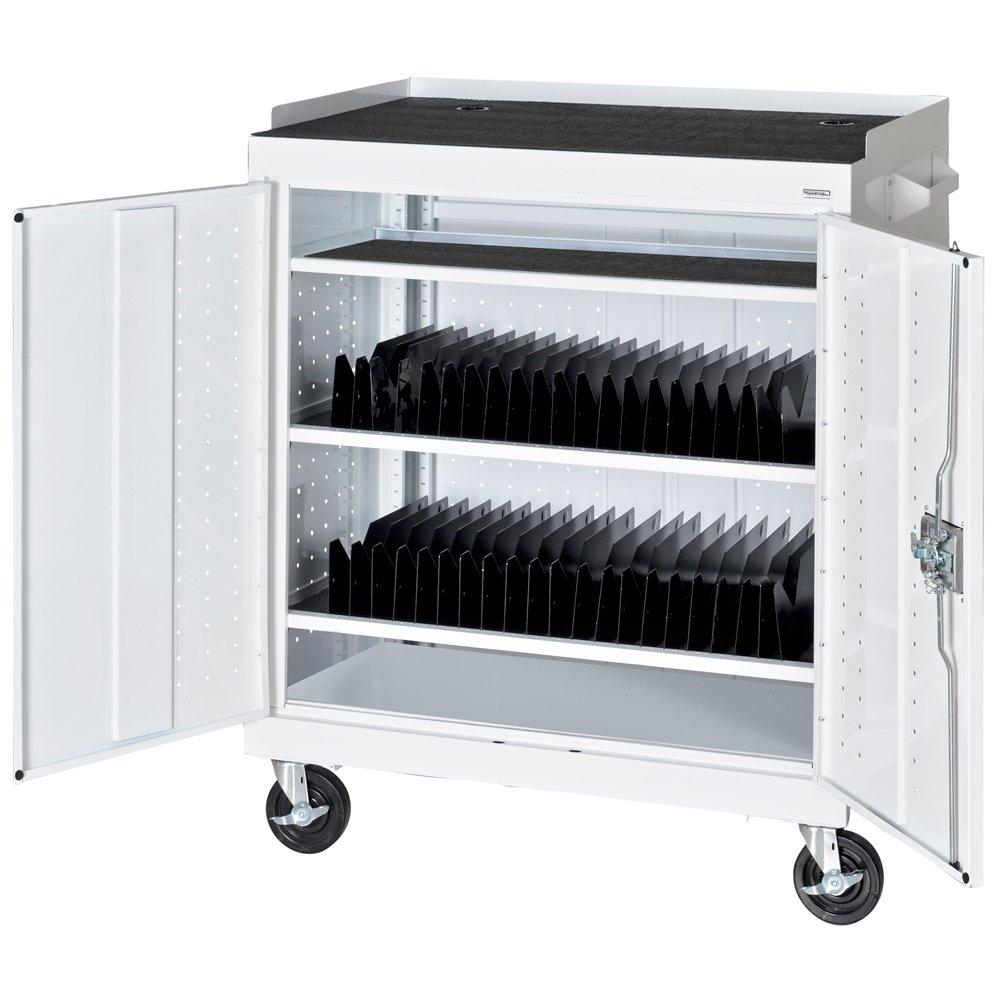 Sandusky MTS362437-22 White Mobile Tablet Storage Cart, 3 Shelves, Recessed Paddle Lock Handle, 43'' Height x 36'' Width x 24'' Depth