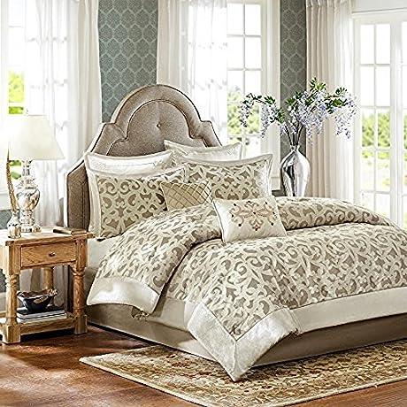 Kingsley Madison Park Stylish Elegant Ivory 8 Piece King Size Comforter Set 1 Comforter 1 Bedskirt 2 Shams And 3 Pillows 1 Comforter 2 Shams 1 Bedskirt 2 Euro Shams 2 Decorative Pillows