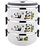 Three-layer Insulated Stainless Steel Bento Box Creative Panda Lunch Box WHITE