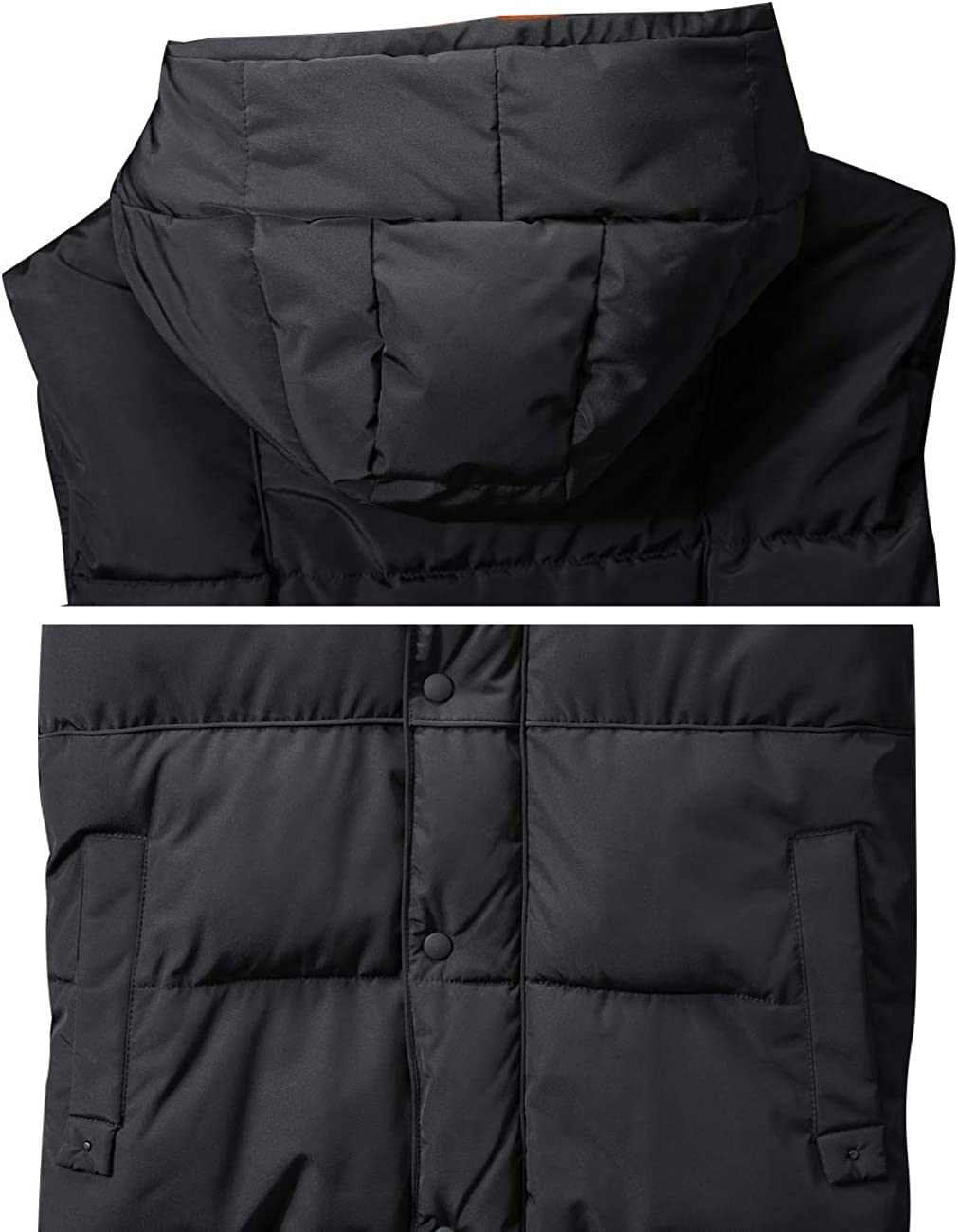 Zoulee Mens or Womens Stylish Padded Body Warmer Vest Hooded Loose Down Vest Removable