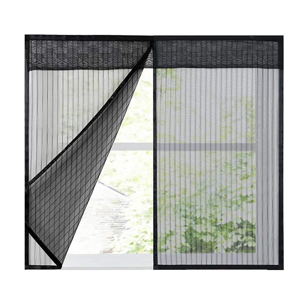 Insektenschutz Fenster Klettband,Start Fliegenschutz,Black,40x100cm 16x39inch Ruber Magnetic Fliegengitter Magnet-Rahmen