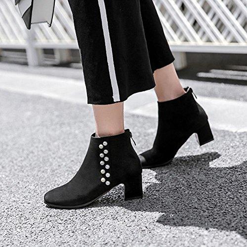 Carolbar Mujer Zip Apinted Toe Con Cuentas De Tacón Medio Otoño Botas Cortas Negro