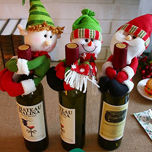GSN 1pc Christmas santa Claus Snowman doll Wine Bottle Cover Navidad Dinner Christmas Table Decoration for Home New Year Party decor -