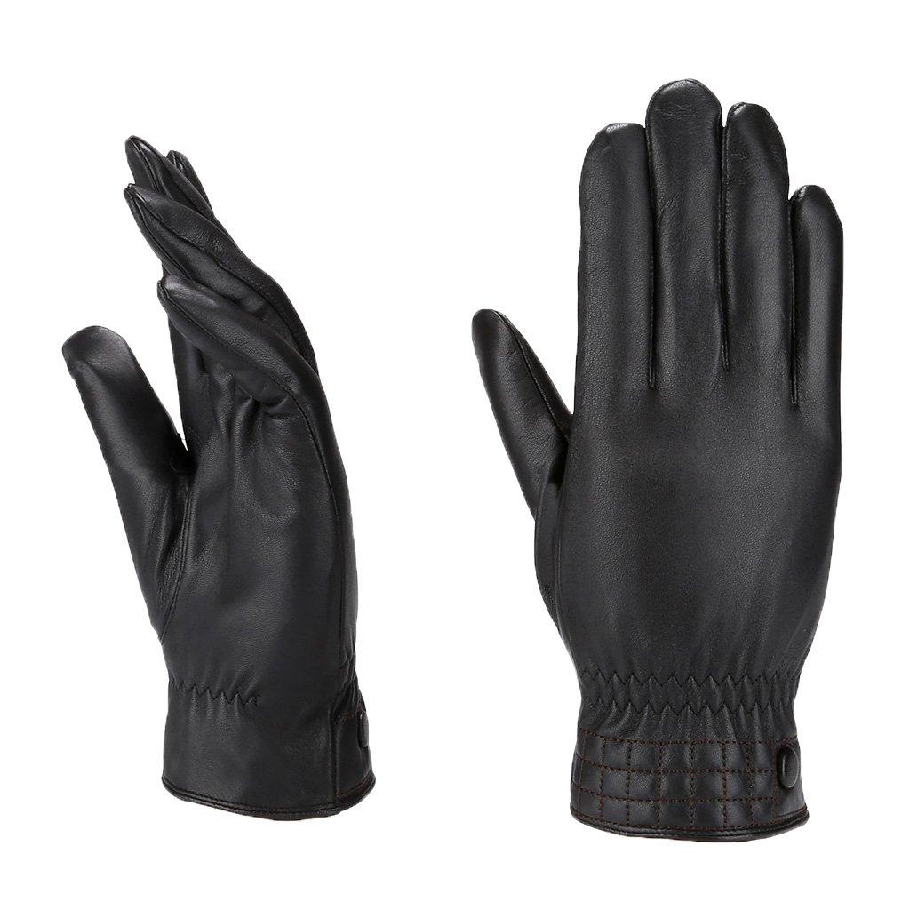 MoDA Men's Mr. Minneapolis Men's Slim Fit Checkered Stitch Leather Gloves C0176-BK-XL