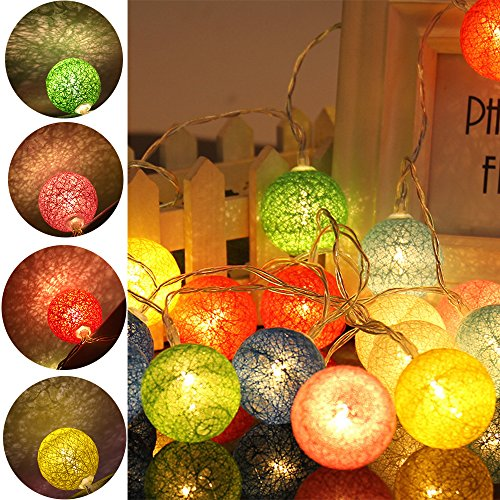 20 LED Cotton Ball Globe String Lights Warm White Battery Powered Globe Fairy Lantern Lights For Garden Party Home Decoration- Red Line