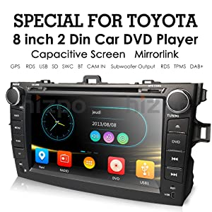 hizpo Toyota Corolla 2007 2008 2009 2010 2011 Car DVD Player 8 Inch Touch Screen GPS Stereo Music/AM FM Radio/SWC/Bluetooth/3G/AV-IN Mirrorlink, Optional DAB+ / TMPS