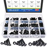 Glarks 510Pcs Metric M3 M4 M5 Alloy Steel Socket Cap Screws Hex Head Bolt Nuts Assortment Kit - Black Oxide Finish