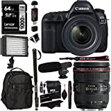 Canon EOS 5D Mark IV Full Frame Digital SLR Camera Body, Lexar Professional 1000x 128GB Memory Card, Polaroid LED Video Light, Microphone, Ritz Gear Backpack, Monopod, Fliter Kit and Accessory Bundle