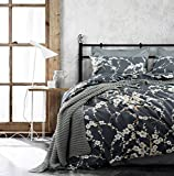 Japanese Oriental Style Cherry Red Blossom Floral branches Print Duvet Quilt Cover 300tc Cotton Bedding 3 piece Set (King, Charcoal)