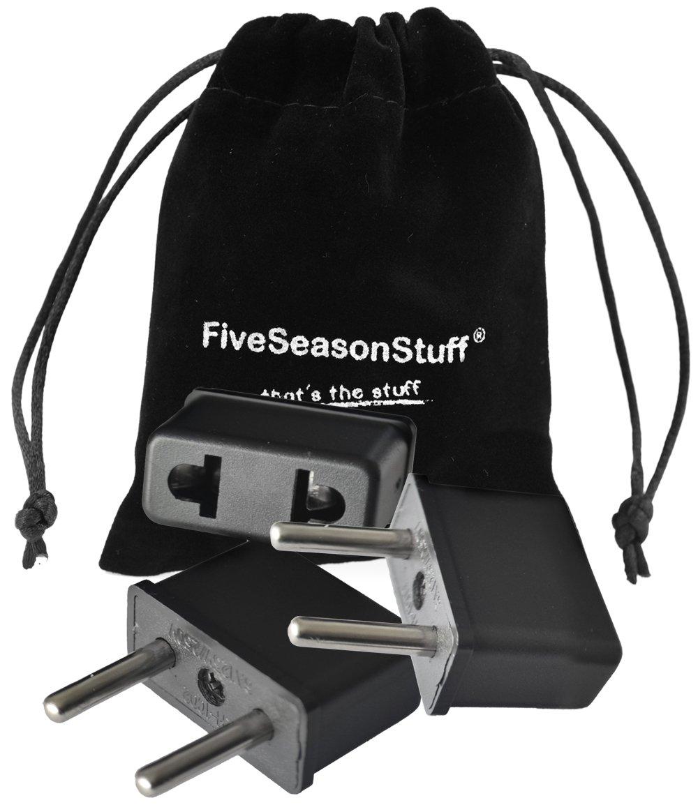 FiveSeasonStuff ® 3 x adattatore da viaggio / di tipo A spina adattatore elettrico a elettrodomestici in Italia, valore 3 Pezzo adattatori per collo. FiveSeasonStuff®