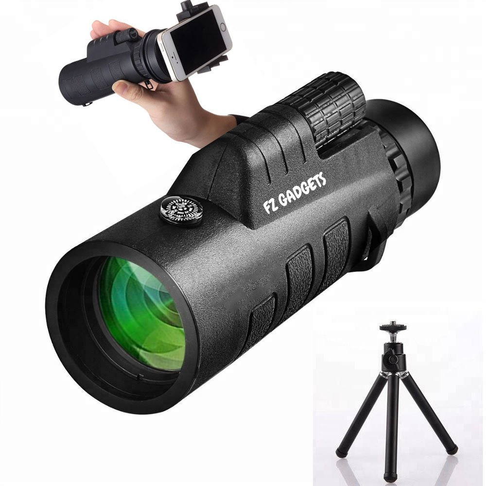 High definition monocular telescope for photography, Low night vision monocular scope 40x zoom, dual focus easy to use with compass, includes tripod. Become a professional SPY and HUNTER NOW!