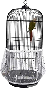 QBLEEV Bird Cage Seed Catcher Mesh Birdcage Seeds Skirt Guard Net Cover Shell for Round Bird Cages