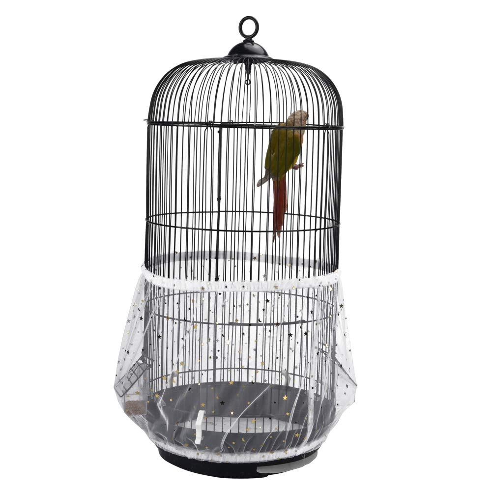 QBLEEV Bird Cage Seed Catcher Mesh Birdcage Seeds Skirt Guard Net Cover Shell for Round Bird Cages White by QBLEEV