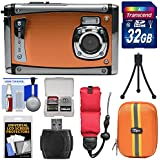 Bell & Howell Splash3 WP20 HD Shock & Waterproof Digital Camera (Orange) with 32GB Card + Case + Float Strap + Tripod Kit