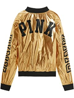 38f0fedbe59 Victoria s Secret Pink Women s Metallic Bomber Jacket Metallic Gold Small