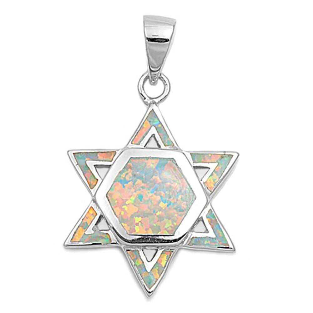 Sterling Silver High Polish Star of David Pendant Green Simulated Opal Charm