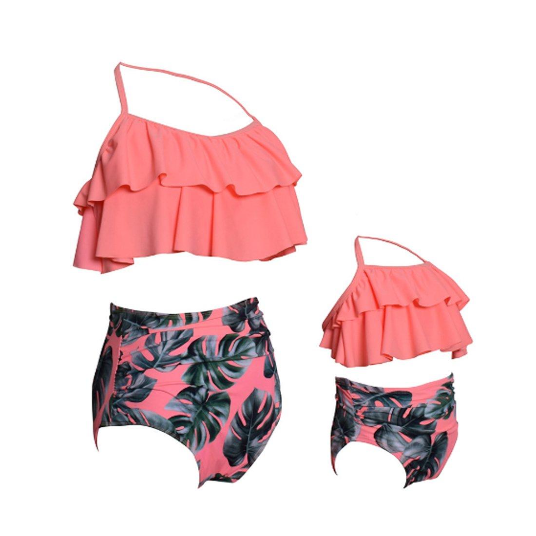 Diversión sexy Inlefen arnés Bikini Traje de baño arnés Inlefen Top con Volantes Cintura Alta Plisado Madre y niña Traje de baño Dividido Patrón Lindo cfbd24