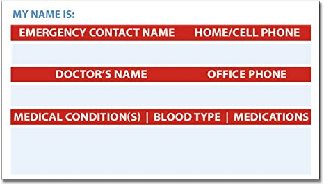 Amazon.com: 5 unidades. Tarjeta de alerta médica ICE en caso ...