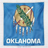 59 x 59 Inches American Decor Fleece Throw Blanket Flag of Oklahoma Ceremonial Pipe Native Americans Olive Branch Six Crosses Blanket