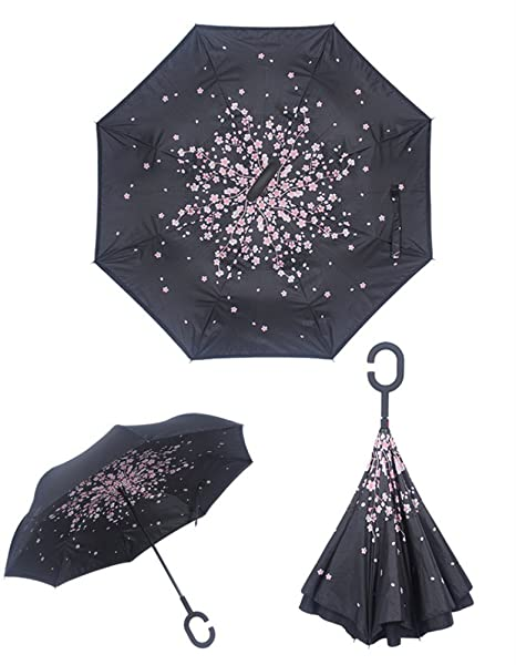 5a89b9cc4e40 YoCozy Inverted Umbrella Windproof Golf Reverse Umbrella Travel Sun Rain  Sakura