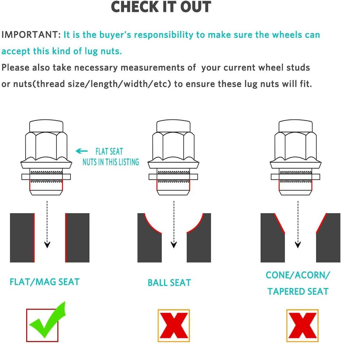 Maxiii Lug Nuts 14x1.5 20PCS Chrome Mag Seat Compatible for Lexus LS460 LS600h LX570 Toyota Land Cruiser Sequoia Tundra