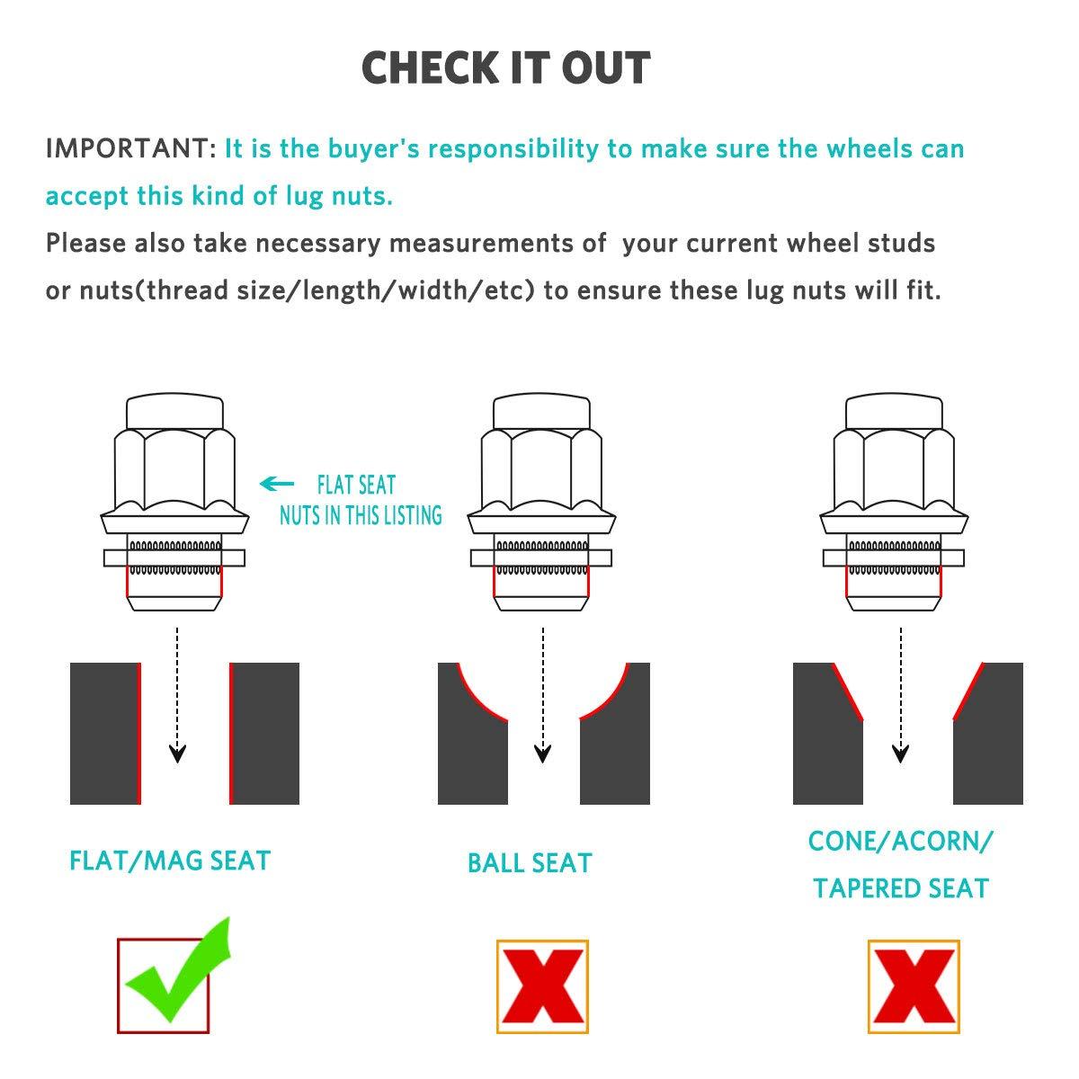 Maxiii Lug Nuts 14x1.5 20PCS Chrome Mag Seat Compatible for Land Rover Range Rover Lexus LX470 LX570 Toyota Tundra Sequoia Land Cruiser