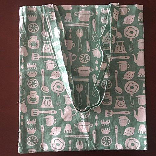 Cocina Y Eco Algodón Verde Compras Lino Bolsa Yile De Ware Bolso Basel06 Impresión Hombro wTvxp5ZqUn