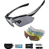 ROCKBROS Gafas de Sol Polarizadas con 5 Lentes Intercambiables para Ciclismo Bicicleta Running Deportes Protección UV…