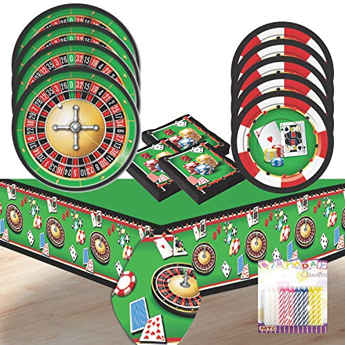 - Casino Game Nite Party Supplies Pack Serves 8: Dinner Plates, Dessert Plates, Luncheon Napkins, and Table Cover with Birthday Candles (Bundle for 8)