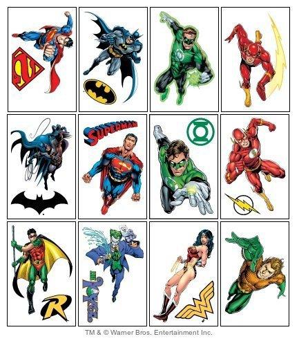 DC Comics Justice League Temporary Tattoos - Set of 12 Larger Tats -