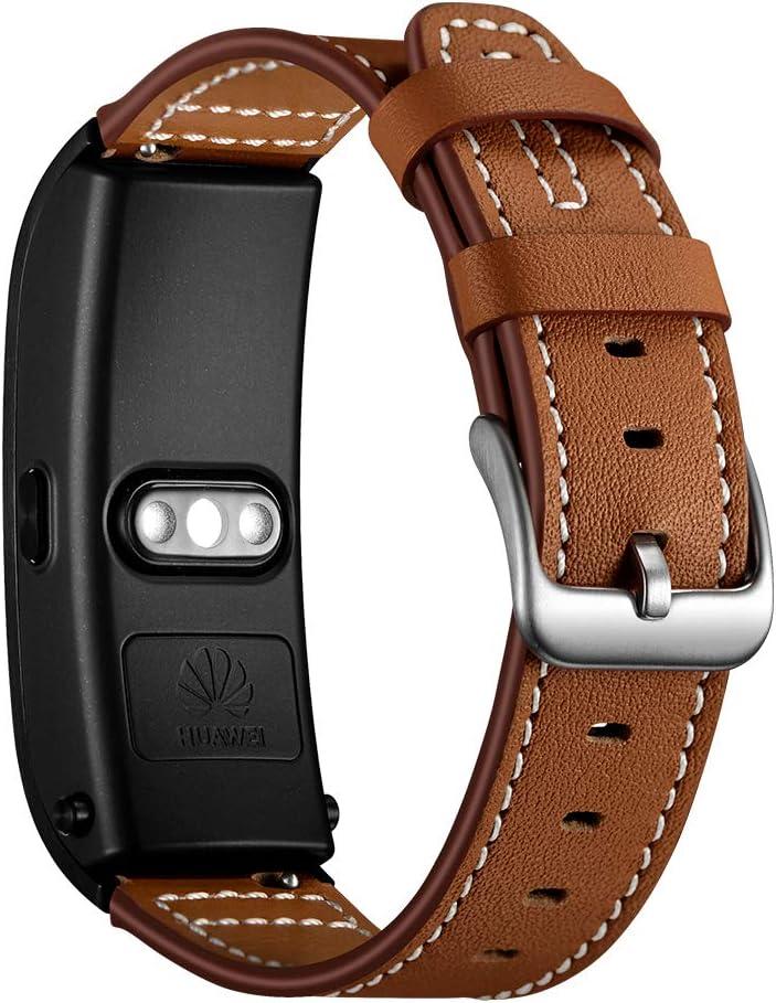 AISPORTS - Correa de reloj de piel de liberación rápida para Huawei Watch, Huawei Talkband B5, Withings Activite, Fossil, LG, Asus, Nokia Smart Watch banda de repuesto para hombres y mujeres, marrón