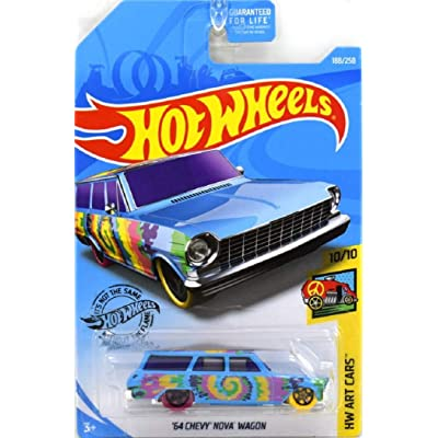 Hot Wheels 2020 Hw Art Cars - '64 Chevy Nova Wagon, Blue 188/250: Toys & Games
