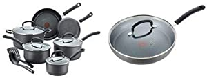 T-fal E765SC Ultimate Hard Anodized Nonstick 12 Piece Cookware Set, Dishwasher Safe Pots and Pans Set, Black and Ultimate Hard Anodized Nonstick Pan with Lid, Dishwasher Safe Frying Pan, Black