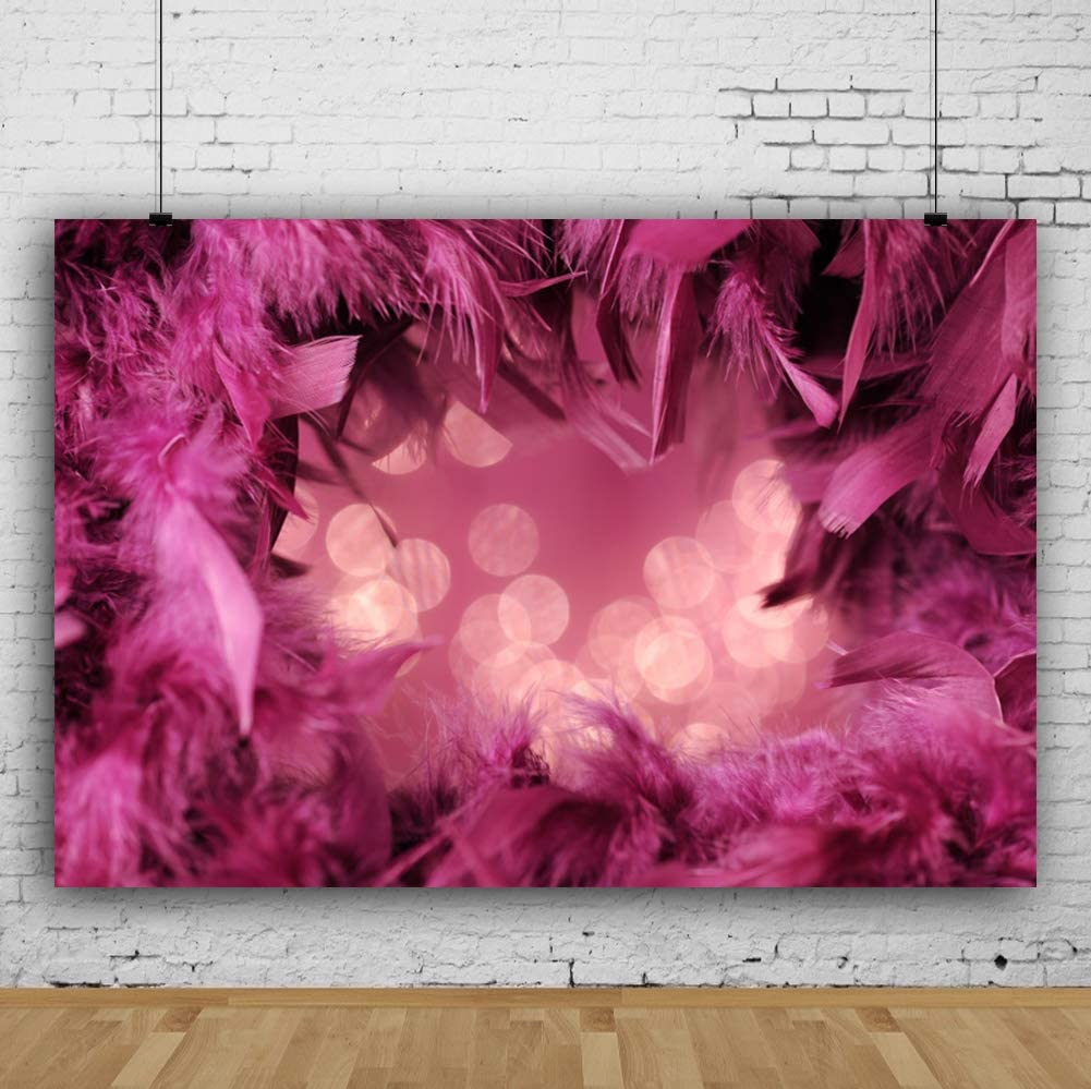 YEELE Masquerade Backdrop 10x7ft Fluffy Purple Frame Photography Background Girls Lady Room Interior Artistic Portrait Carnival New Year Events Birthday Photo Booth Photoshoot Props Wallpaper