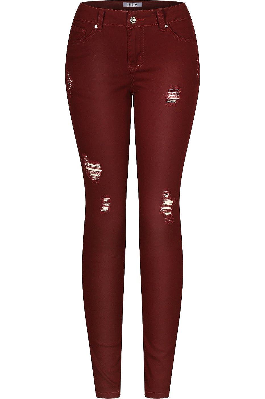 Burgundy 2LUV Women's Stretchy 5 Pocket Destroyed Dark Denim Skinny JeansÂ