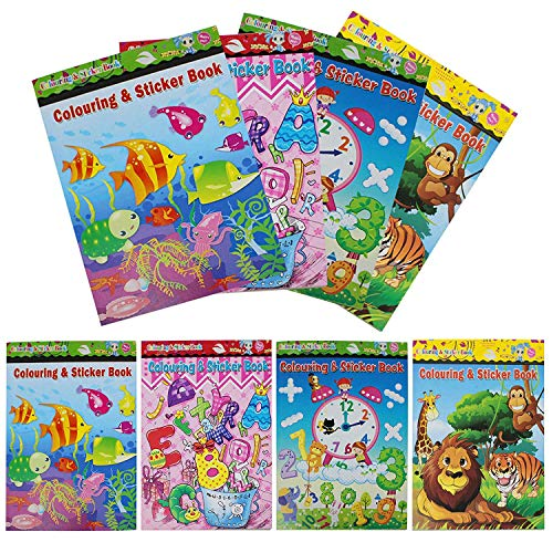 THE TWIDDLERS 24 Set Assorted Colouring & Sticker Books | Kids Mini Arts Activity Birthday Party Bag Favor | School Supplies & Prizes Educational learning | Coloring Books Favor for Kids Girl and Boys