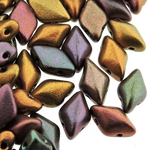 Czech Glass GemDuo Beads, 2-Hole Diamond Shaped Beads 5x8mm, 10 Grams, Violet Rainbow