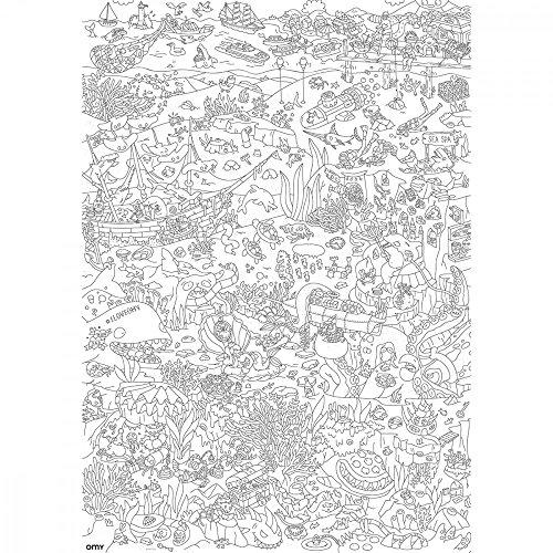 Coloriage Geant Animaux.Grand Poster A Colorier Ocean Tous Les Animaux De La Mer A