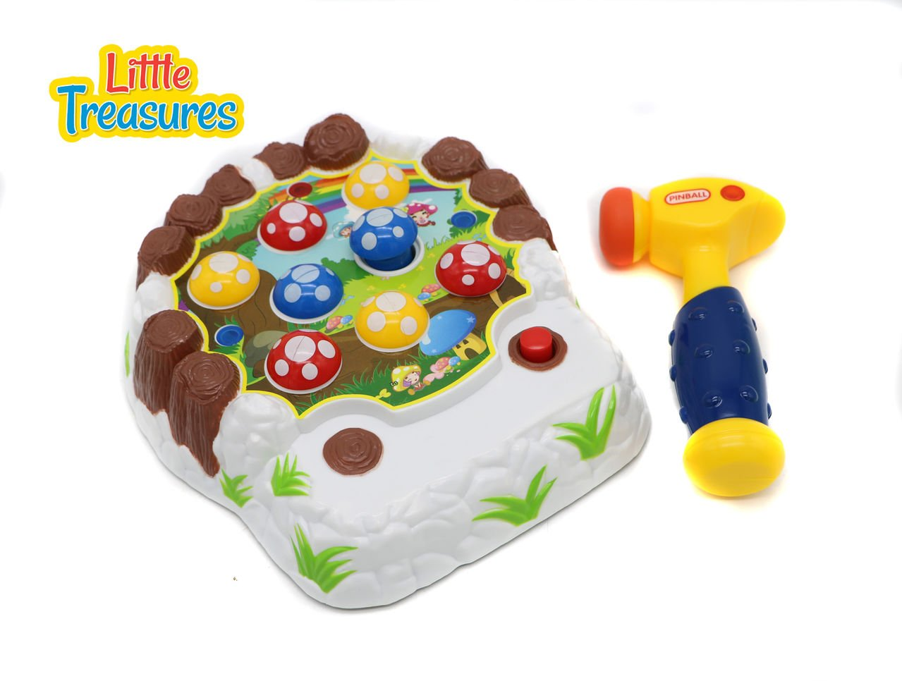 Little Treasures Mushroom Smacker Whack A Mole Style Game Package Play Series with Mushroom Patch and Toy Hammer
