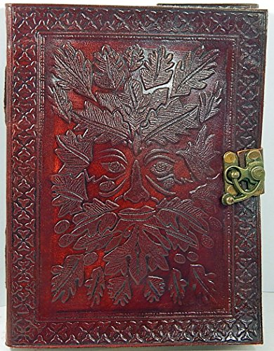Barner Books Handmade 8 X 6 Leather Sketchbook with Latch Embossed Greenman & 100% Recycled Paper