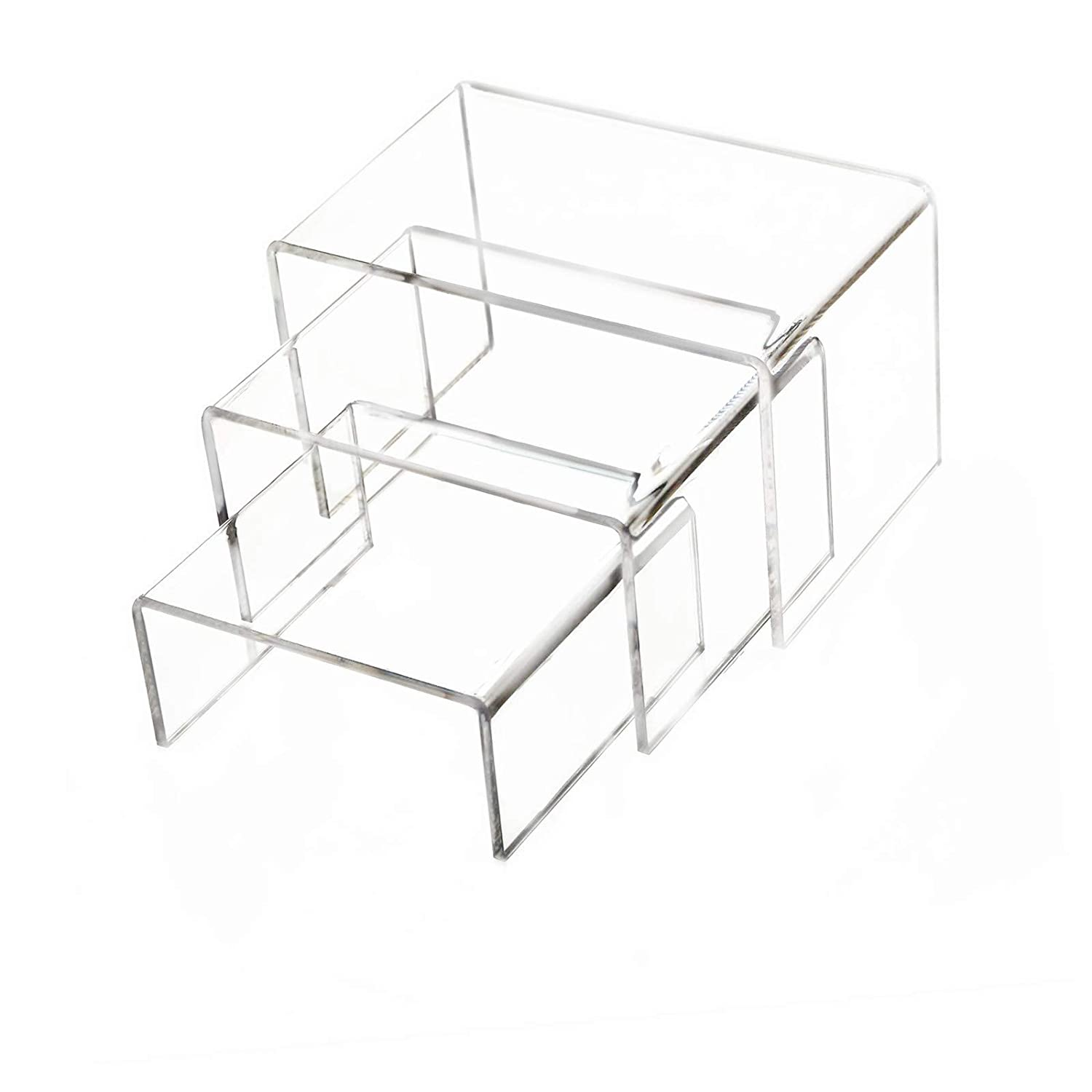 Clear Acrylic Display Risers, Showcase Shelf for Jewelry,Figures, Buffets and Cupcakes, 2 Sets