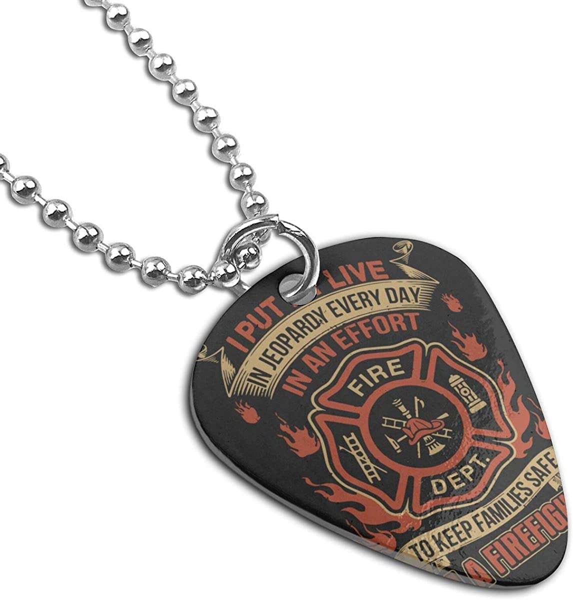 American Firefighter Pendant Necklace Guitar Pick Custom Keychain Pet Card